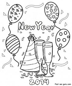 Printable  Happy  New Year  2014 clipart coloring pages fargelegge tegninger  activities worksheets  godt nyttår
