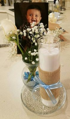 Centerpieces for baby boy baptism. Baptism party ideas.