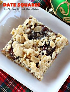 Date Squares - - A luscious date filling is sandwiched between a wonderful oatmeal streusel crust and topping in these tasty treats. They're rich, sweet and sensational! Terrific for holiday and Christmas baking and for Christmas Cookie Exchanges. Holiday Cookies, Christmas Desserts, Christmas Baking, Holiday Baking, Recipe For Date Squares, B Recipe, Dessert Tray, Christmas Cookie Exchange, Allergy Free Recipes