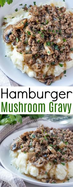 Hamburger and Mushroom Gravy This meat and potatoes comfort food just like grandma used to make is the perfect easy dinner idea! Ready in less than 30 minutes and great served over mashed potatoes, baked potatoes, cooked rice or egg… Continue Reading → Easy Meat Recipes, Ground Beef Recipes, Easy Dinner Recipes, Easy Meals, Cooking Recipes, Meat Dinner Ideas, Dinner Ideas Hamburger Meat, Dinner Ifeas, Ground Beef Dinner Ideas