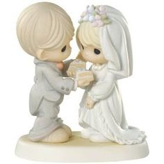Wedding Gifts like this Precious Moments Figurine, available at Becker Jewelers! We also have greeting cards and FREE WRAPPING! Precious Moments Wedding, Precious Moments Quotes, Precious Moments Figurines, Wedding Cake Figurines, Dandelion Designs, Bride And Groom Cake Toppers, Baby Fairy, My Precious, Sweet Memories