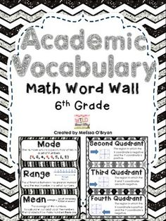 Easy on the color printer ink!!!! This Black & White themed Math Vocabulary Word Wall set is Perfect for display in a 6th grade or homeschool classroom. This word wall set was created based on the 6th grade Common Core Math State Standards. Includes 114 vocabulary cards. Each card contains the academic vocabulary word, its definition or example, and most contain a graphic. Will make your classroom bulletin board look AMAZING! $ #wildaboutfifthgrade