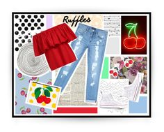 """""""Ruffles"""" by rose-dujour ❤ liked on Polyvore featuring Cole & Son, Designers Guild, Serena & Lily, Bebe, Converse, casual, ootd, ruffles, cherries and summer2016"""
