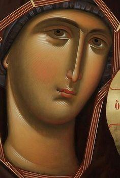 Orthodox Catholic, Catholic Art, Byzantine Icons, Byzantine Art, Religious Icons, Religious Art, Jesus Face, Madonna And Child, Art Icon