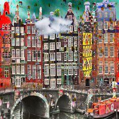 #Kunst van Geert Lemmers op KUNSTmarktplaats.nl | Amsterdam City Views, my happy world