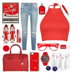 """Bowling Date"" by katie-longmore ❤ liked on Polyvore featuring MICHAEL Michael Kors, Frame, Alexander McQueen, Boohoo, Casetify, ZeroUV, Diesel, Tom Ford, Cacharel and Clinique"