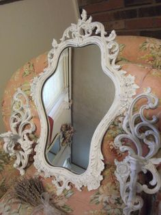 ~STUNNING VINTAGE CHIPPY SYROCO ROSES WALL MIRROR & SCONCES! SHABBY COTTAGE CHIC #SYROCO #HollywoodRegency