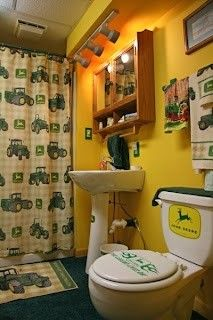 John Deere Bathroom, new home ideas? I'm thinking the boy's bathroom. John Deere Room, John Deere Decor, Basement Bathroom, Bathroom Ideas, Kid Bathrooms, Bathroom Gray, Ikea Bathroom, Design Bathroom, Bathroom Interior