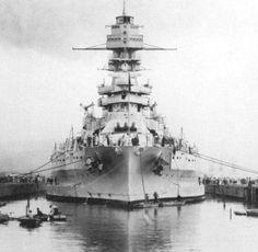 1932: USS Arizona BB-39 seen in drydock at Pearl Harbor, Hawaii.
