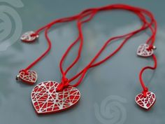 Necklace Hearts in plexiglass and steel