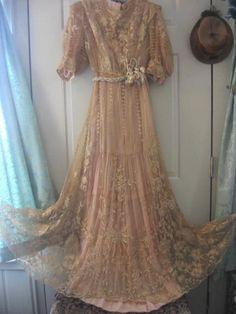 Antique tambour lace wedding dress.