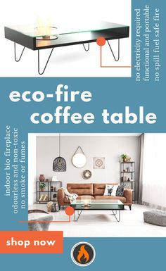 Shop this great indoor bio fireplace! It is coffee table and ethanol fireplace in one piece. It provides you function and safety, and no risk of fuel spills or leaks. Bio Ethanol Fuel is non-toxic and odorless, obtained from 100% renewable sources. Burning is tottaly safe, as the only combustion by-products are water vapor and CO2 in the amount comparable to human breath. You will not need chimney, installation or ashtray! Fully portable, no smoke, easy refueling. No electricity is needed. Ethanol Fireplace, Living Room With Fireplace, Sustainable Design Interior, Interior Design, Home Decor, Fire Safe, Fireplace, Coffee Table, Home Renovation
