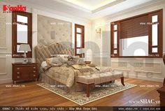 Thiết kế nội thất phòng ngủ kiểu Pháp đẹp mềm mại, sử dụng vật liệu gỗ tạo cảm giác ấm cúng
