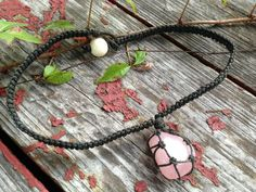 Rose Quartz Organic Hemp Necklace-Pink Rose Quartz Crystal Black Hemp Wrapped Macrame Necklace