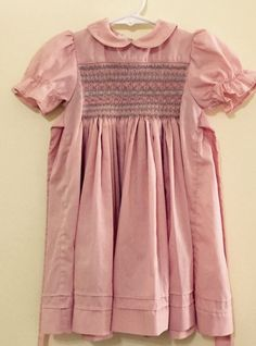 Vintage Yvonne Denise Dress 2T Pink Smocked Bue Puffy Sleeves Pintucks Spring  #YvonneDenise #Party