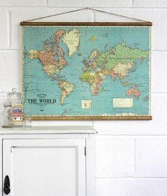 Vintage world map cotton linen fabric for curtain upholstery sold bacons map of the world wall hanging i think this would look great in the gumiabroncs Gallery