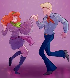 Scooby Doo- Daphne and Fred sharing a romantic disco dance Daphne Blake, Daphne And Fred, Old Cartoons, Classic Cartoons, Disney Cartoons, Cartoon Ships, Cartoon Art, Scooby Doo Mystery Incorporated, Walt Disney