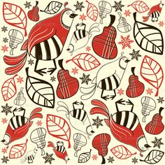 Partridge in a Pear Tree, Christmas fabric.
