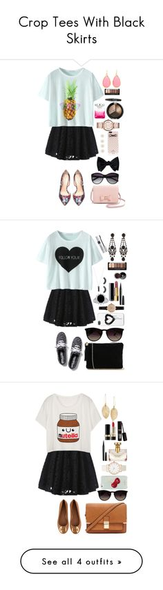 """""""Crop Tees With Black Skirts"""" by panda-matowi0715 on Polyvore featuring Bebe, Ted Baker, Vince Camuto, Kate Spade, Accessorize, Marc by Marc Jacobs, Jimmy Choo, NYX, Keds and Bungalow 20"""