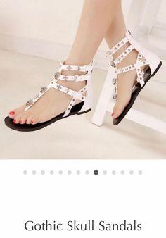 d48fc3f7bccf Skull Gladiator Sandals White size 7.5 New Crystal Embellished  fashion   clothing  shoes