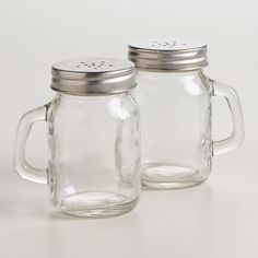 A touch of glass. MASON JAR SALT AND PEPPER SHAKER At Cost Plus World Market   Cooking - Baking, Kitchen Accessories #kitchen #dining #Retro #glassware #Vintage #decor #entertaining #MasonJar #rustic #homestead