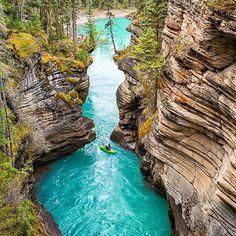. Follow @nationaldestinations for more splendid outdoor photos. ️ ️ ️  Athabasca Falls, Jasper NP.  Photo By @photojbartlett.