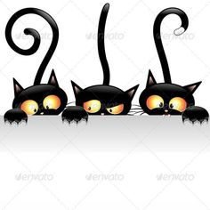 Three Black Cats Cartoon with funny faces behind a white Panel Background.  Including Vector Layered files: ¨C a file EPS v.10 ¨C a