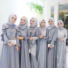 Inspired by cute silver hijab look Hijab Prom Dress, Hijab Gown, Kebaya Hijab, Hijab Style Dress, Kebaya Dress, Dress Pesta, Kebaya Muslim, Hijab Wedding Dresses, Muslim Dress