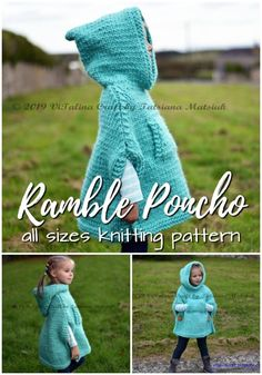 Charming poncho knitting pattern in sizes infant to adult XL. Love this gorgeous hooded poncho! Perfect for fall! Knitting ProjectsKnitting HatCrochet PatronesCrochet Amigurumi Charming poncho knitting pattern in sizes infant to adult XL. Baby Poncho, Hooded Poncho, Knitted Poncho, Hand Knitted Sweaters, Knitted Blankets, Poncho For Kids, Girls Poncho, Baby Cardigan, Knitted Shawls