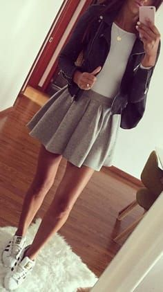 Fall Outfits To Try Right Now · Leather Jacket // White Bodysuit // Grey Skirt // White Sneakers Teen Fashion Outfits, Mode Outfits, Look Fashion, Outfits For Teens, Autumn Fashion, Womens Fashion, Fasion, Korean Fashion, Tween Fashion