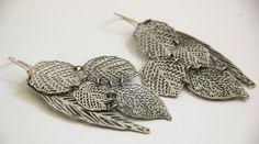 Statement long earrings Oxidize Silver long leaf by inbarshahak, $98.00