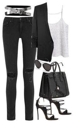 Untitled #2889 by charline-cote on Polyvore featuring MANGO, Helmut Lang, rag & bone, Banana Republic, Dsquared2, Yves Saint Laurent and RetroSuperFuture