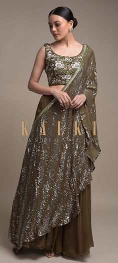 Army Green Skirt And Embellished Crop Top With Fancy Pre Stitched Drape Online - Kalki Fashion Indian Wear, Indian Attire, Embellished Crop Top, Green Lehenga, Anarkali, Salwar Kameez, My Wardrobe, Army Green, Aesthetic Clothes