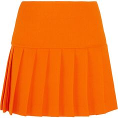 Designer Clothes, Shoes & Bags for Women Wool Mini Skirt, Pleated Mini Skirt, Mini Skirts, Crepe Skirts, Wool Skirts, Orange Skirt, Orange Orange, Spring Skirts, Winter Sweaters