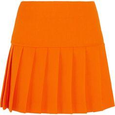 Miu Miu Pleated wool-crepe mini skirt, Women's, Size: 36 (€980) ❤ liked on Polyvore featuring skirts, mini skirts, wool skirt, pleated miniskirt, short mini skirts, short skirts and orange skirt