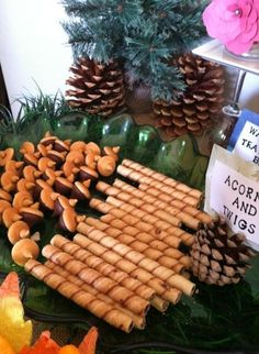 Edible twigs and acorns at a Camping Party #camping #partyfood