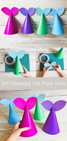 These Mermaid Tail party hats come in 4 different brightly coloured designs. Perfect for Mermaid Birthday Parties, Mermaid Baby Showers and any under the sea party!  Super easy to make, just follow the step by step instructions included.  #mermaid #mermaidparty #mermaidhat #partyhat #mermaidbirthday #kidscraft #diyparty #mermaidpartyhat #diymermaidparty