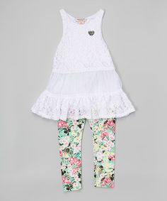 This White Lace Sleeveless Tunic & Leggings - Toddler & Girls is perfect! #zulilyfinds