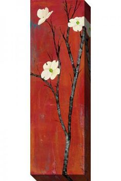 """Home Decorators Dogwood on Red Canvas Wall Art (16"""" x 48""""   indoor/outdoor)"""
