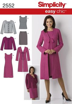 №5/2010 Simplicity Misses Dress, Top, Skirt, Lined Coat and Knit Cardigan: Easy Chic Collection 2552