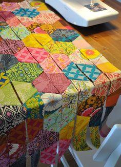 Half Hexagons Quilt by batixa, via Flickr