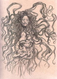 Truly horrifying to behold, the Penanggalan is a vampiric ghost of Malaysian folklore. A beautiful woman by day, the Penanggalan will detach its head at night—entrails and organs dangling beneath it—and seek out its victims (often children) to drain of blood.  Penanggalan by TickleMeCthulhu #vampires #myth #legend