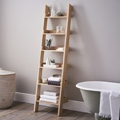 Give your bathroom a gorgeously chic and clutter-free look with this smart four-step storage ladder. Part of our Luxury White Lacquer furniture collection, the ladder is made of beech wood and is exclusively available to us in gorgeous glossy white wit Decor, Bedding And Curtain Sets, Shelf Furniture, Ladder Shelf, Bed Linen Design, Oak Furniture, Shelves, Wardrobe Storage, Bed Linens Luxury