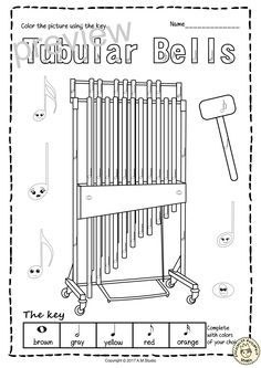 xylophone coloring page | coloring pages | Pinterest | Musical ...