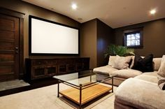 Home Theater - I love this! Not your traditions MAN room with blacked out walls and leather recliners. It is still a Home Theater but it is more inviting, cozy, & romantic.