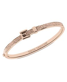 04eccebc632f Michael Kors Rose Gold-Tone Steel Pave Buckle Bangle Bracelet Jewelry    Watches - Fashion Jewelry - Macy s