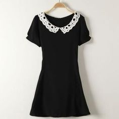 Buy 'JVL – Short-Sleeve Lace-Collar Dress' with Free International Shipping at YesStyle.com. Browse and shop for thousands of Asian fashion items from China and more!