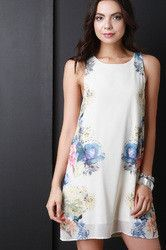 Engineered Floral Print Sleeveless Shift Dress