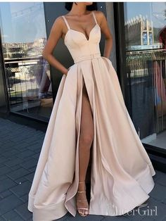 Simple Straps A-line Side Slit Lace Long Evening Prom Dresses, Cheap Sweet 16 Dresses, 18442 Source by 16 dresses with straps Prom Dresses With Pockets, Straps Prom Dresses, Pretty Prom Dresses, Grad Dresses, Mermaid Prom Dresses, Ball Dresses, Party Dresses, Beige Prom Dresses, Long Elegant Dresses