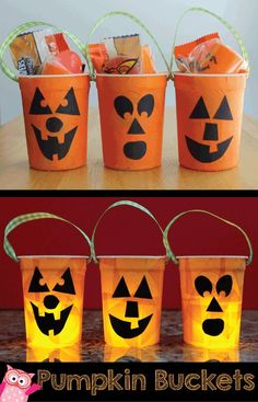 Make your own pumpkin buckets from yogurt containers.  Small containers make great  party favors or goodie bags.  Make them into kid safe tea lights by adding battery operated lights.  http://earlylearningideas.com/diy-pumpkin-buckets/